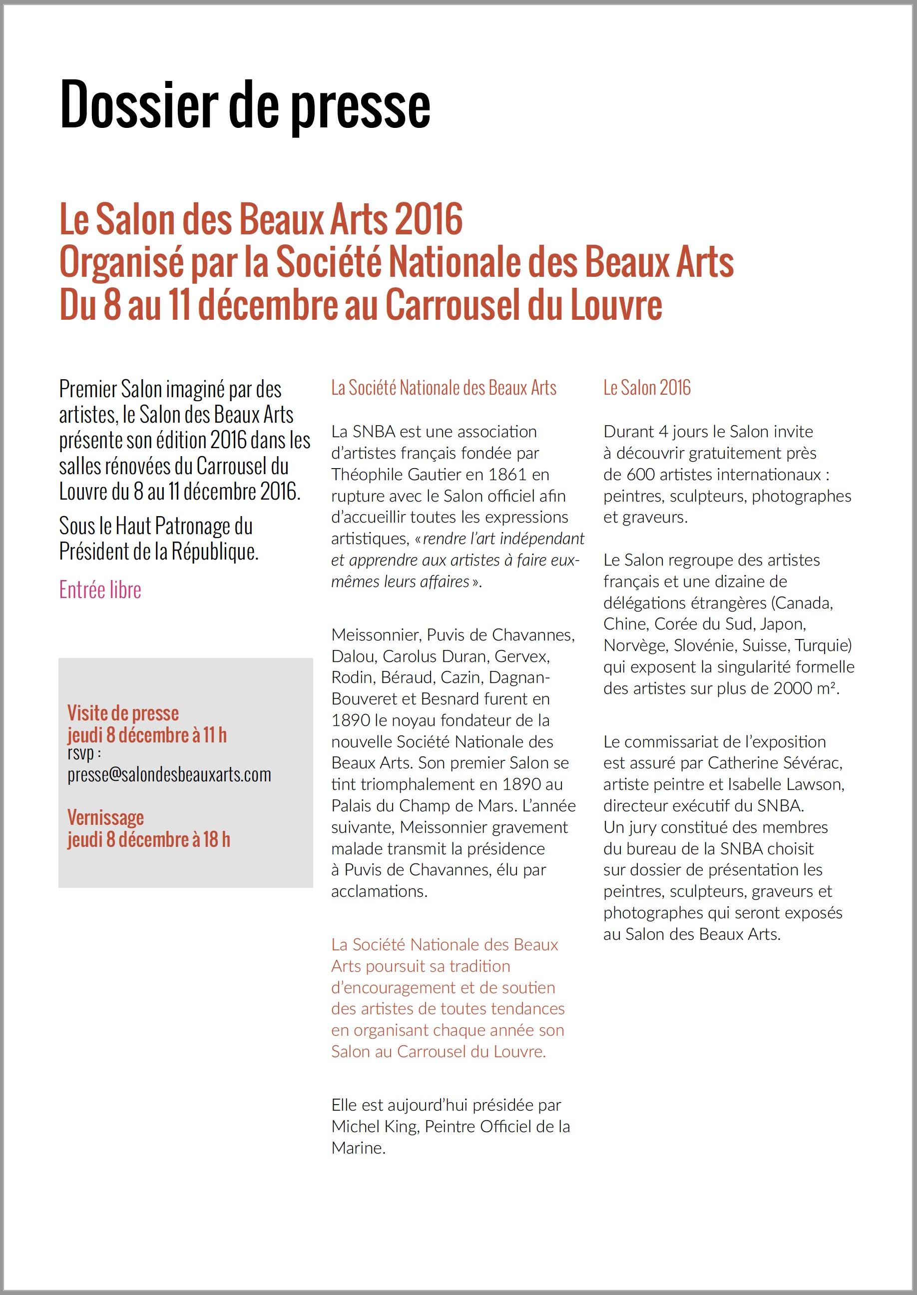 Le Dossier de Presse du Salon de laSociété Nationale des Beaux Arts 2016