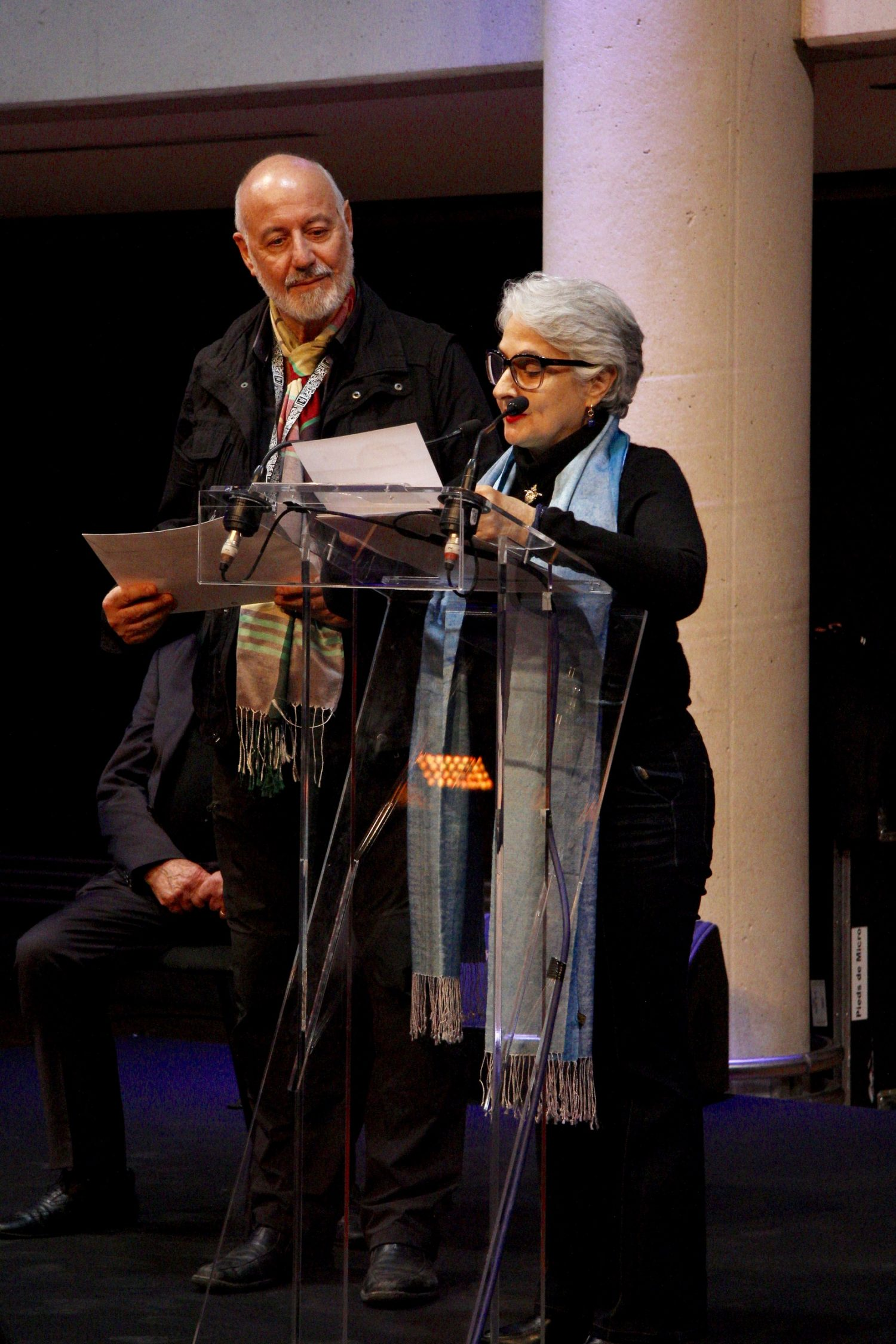 Anaïd Derebeyan, Vice-présidente de l'ADAGP remet les aides financières aux artistes primés • Michel Buret
